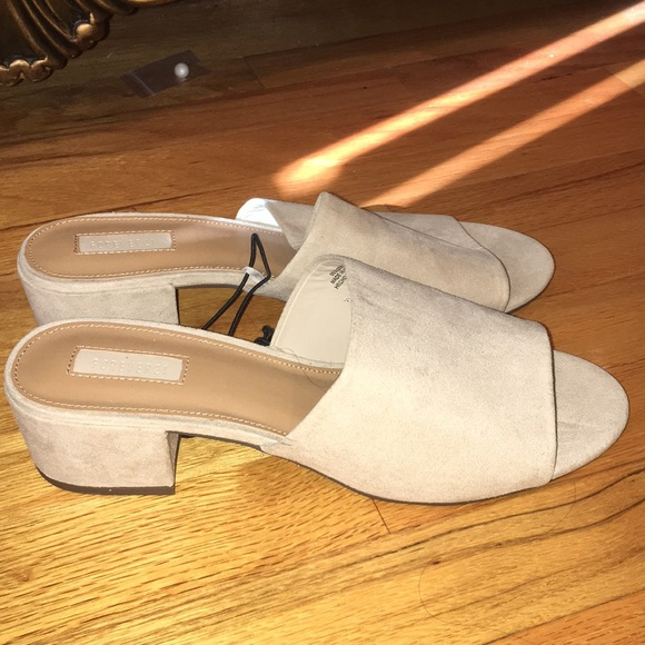 Forever 21 Shoes - Forever 21 Taupe Low Heel Suede Sandals
